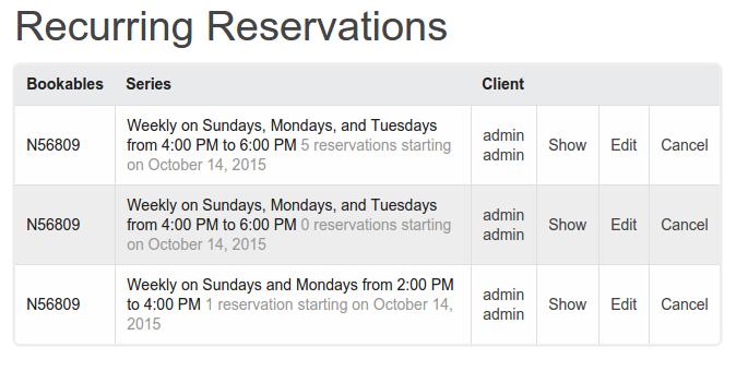 recurring reservation listing