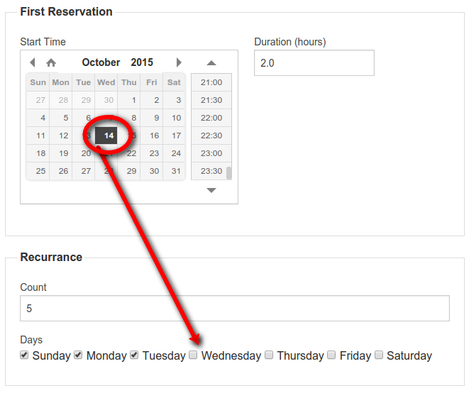 first recurring reservation