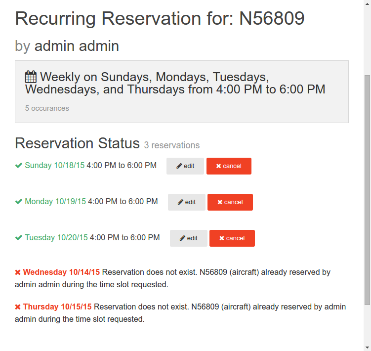 status with ignored reservations