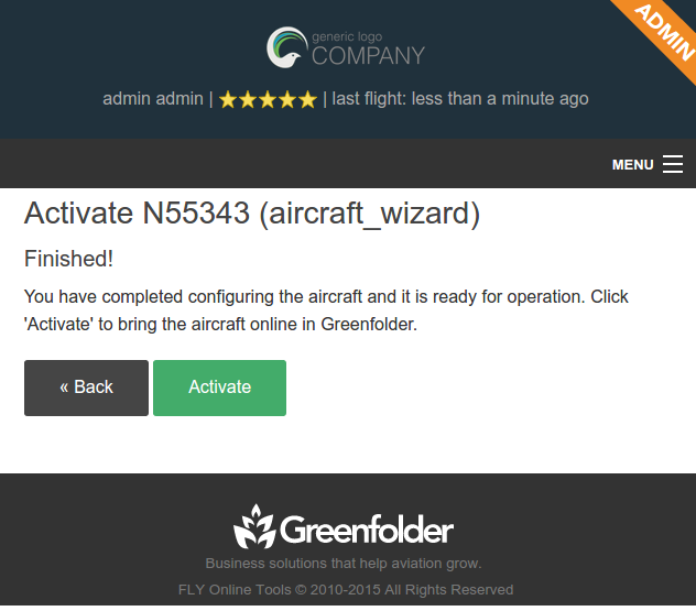 aircraft wizard finished