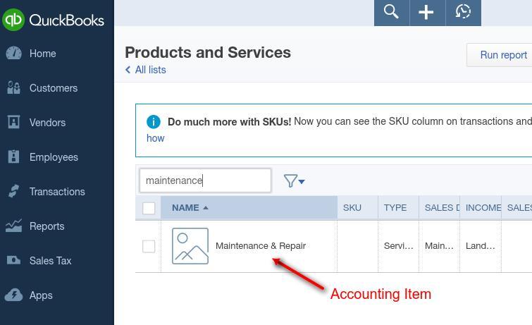Quickbooks Online Accounting Item