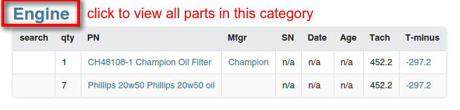 category filtered parts