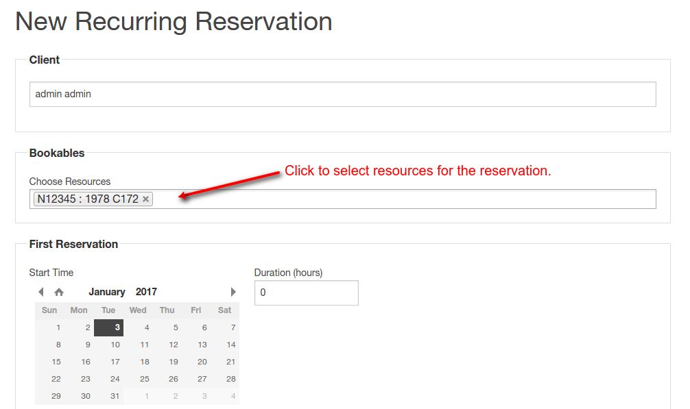 select bookables for recurring reservation