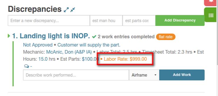 discrepancy labor override