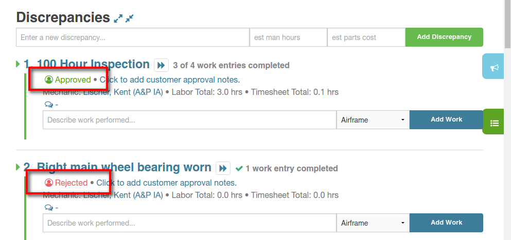 customer approval on work order page