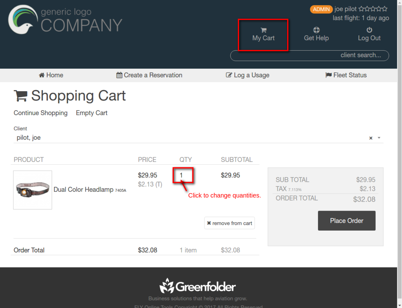 my cart menu link