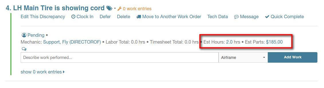 discrepancy edit estimate