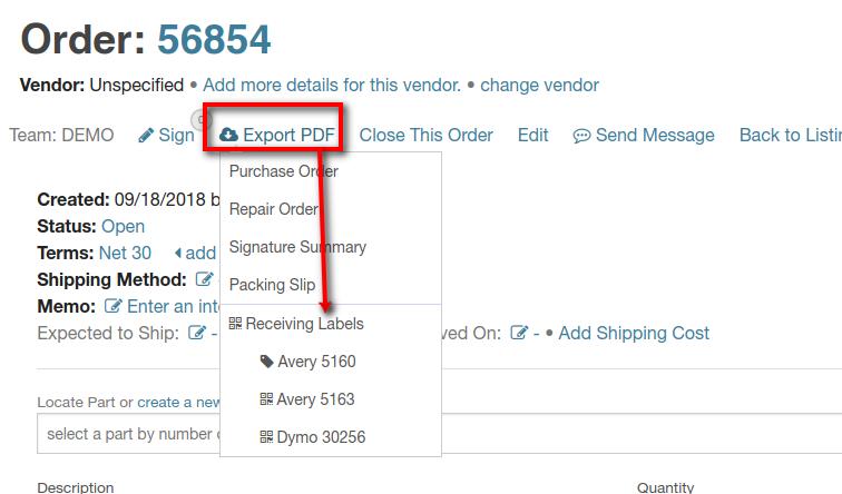 order receiving labels menu