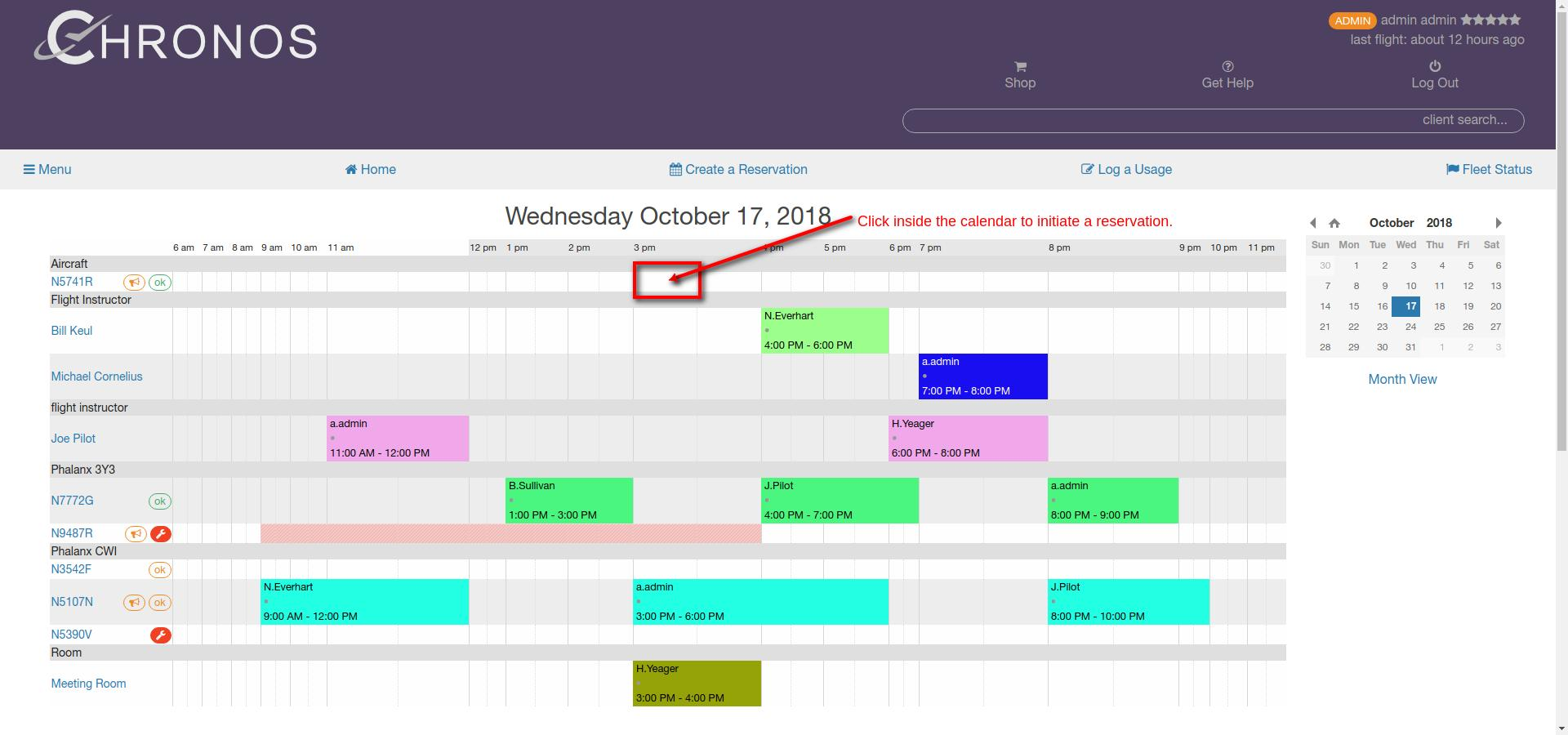 create a reservation calendar view