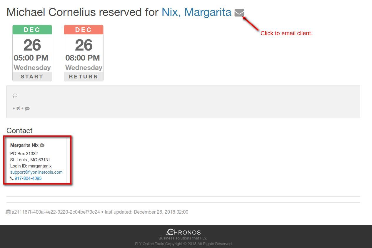 reservation details