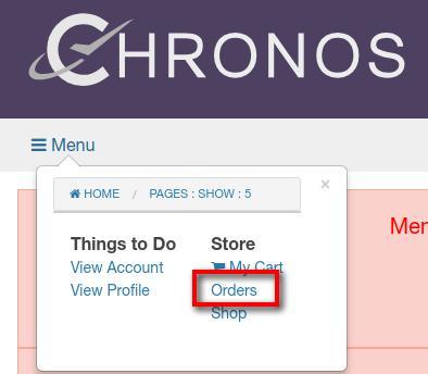 orders menu link