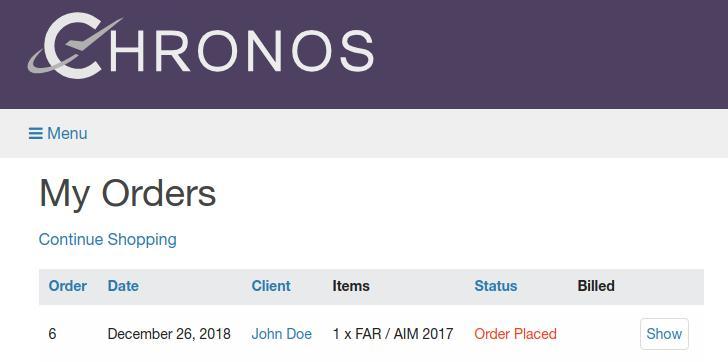 orders listing
