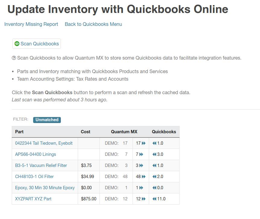 quickbooks inventory comparison