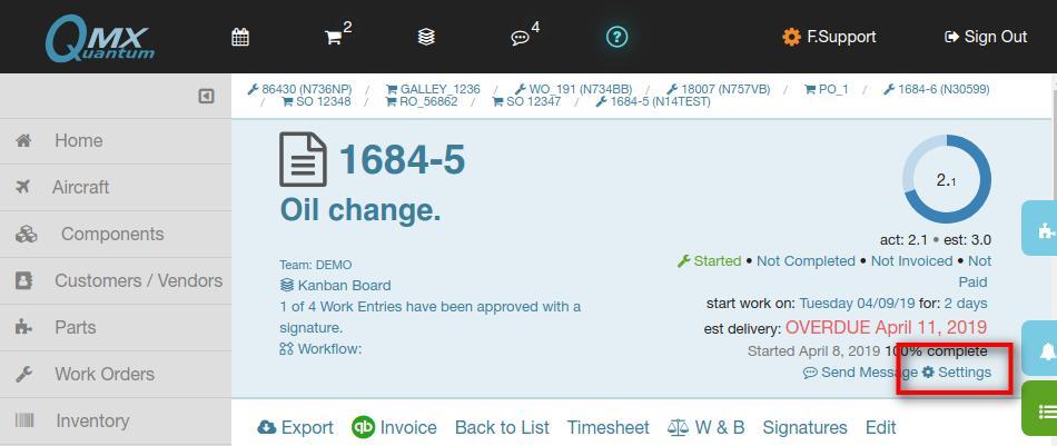 work order settings link