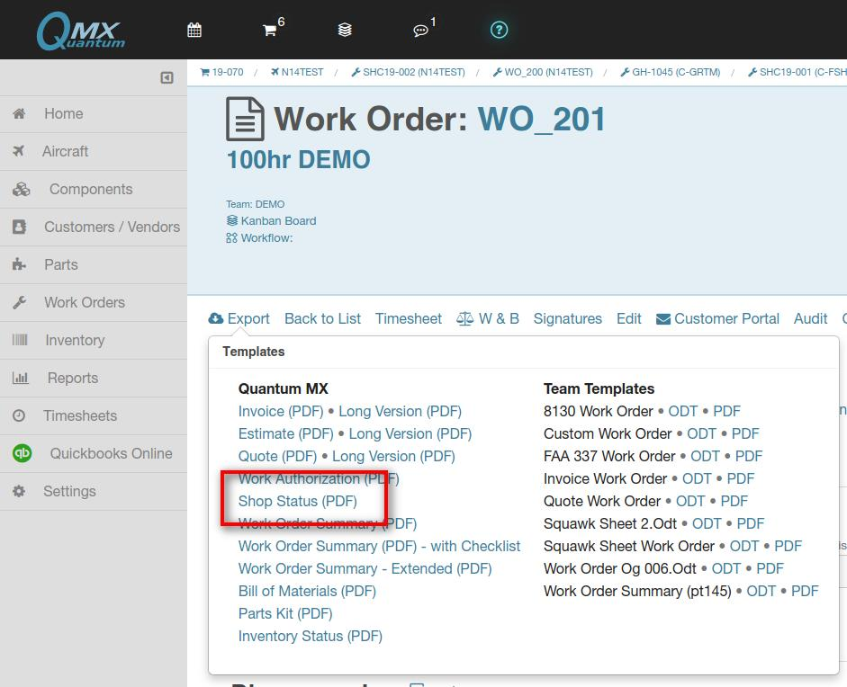 work order shop status export link