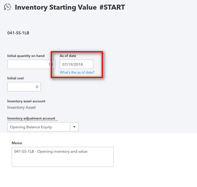 qbo edit inventory starting value
