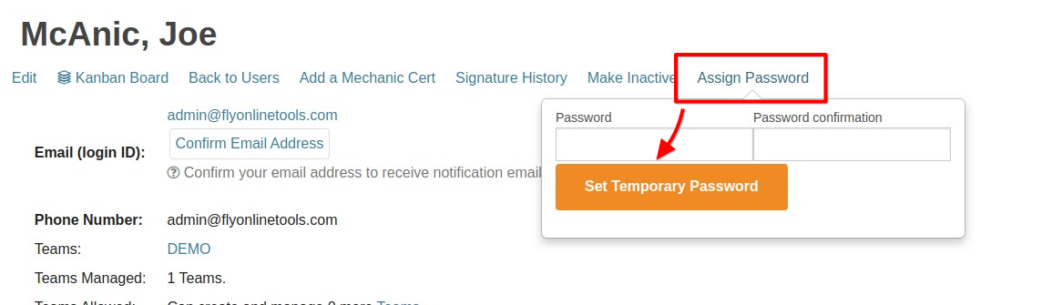 user assign password