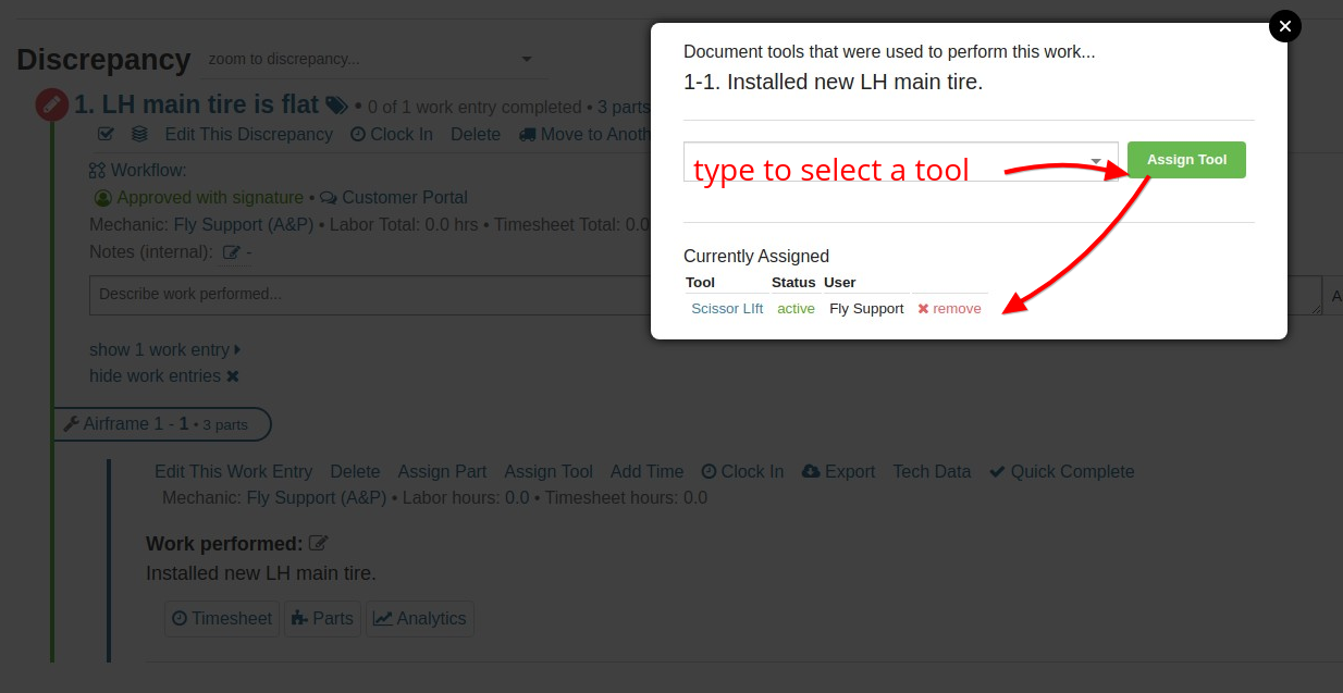 work entry assign tool modal