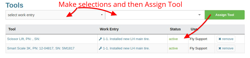 assign tool to work entry