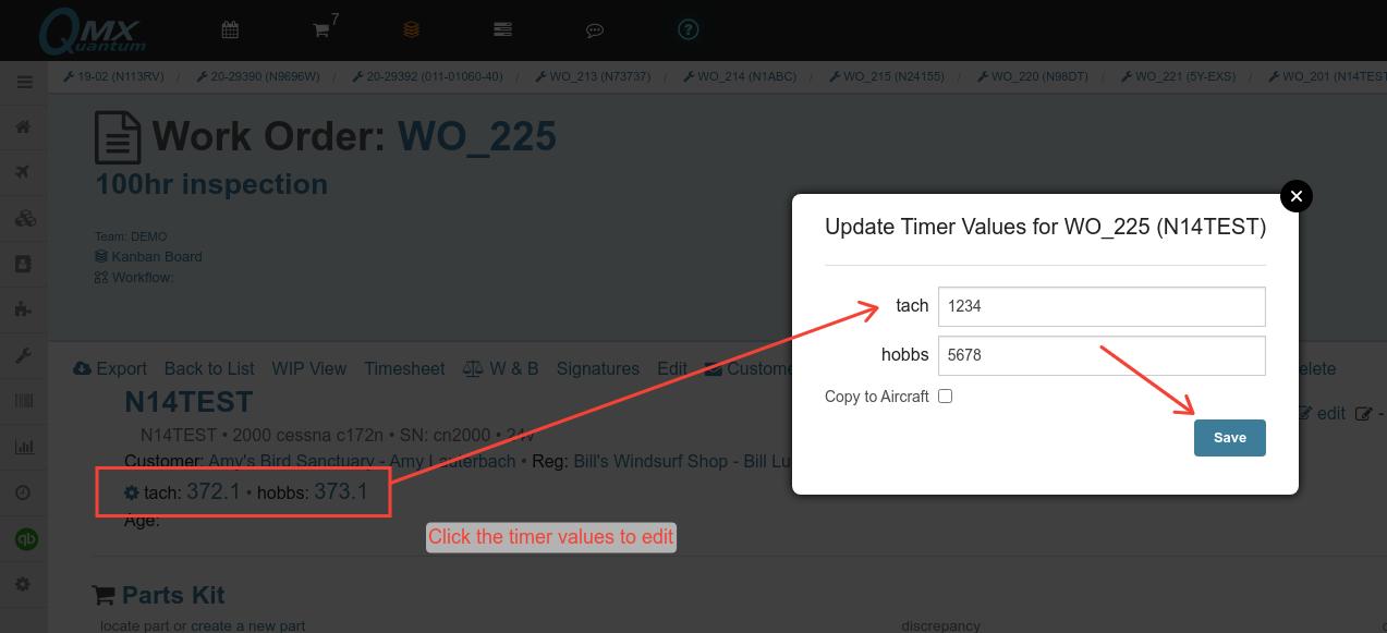 work order edit timer values