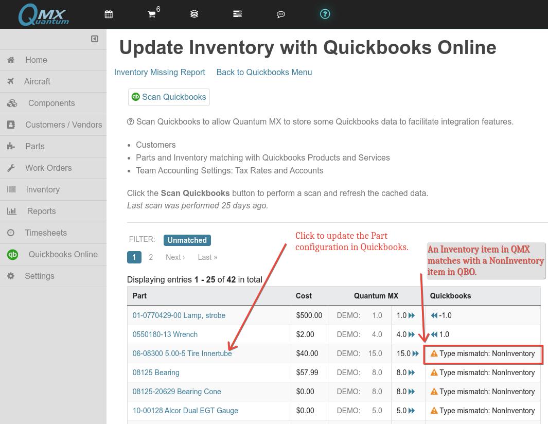 qbo non inventory mismatch