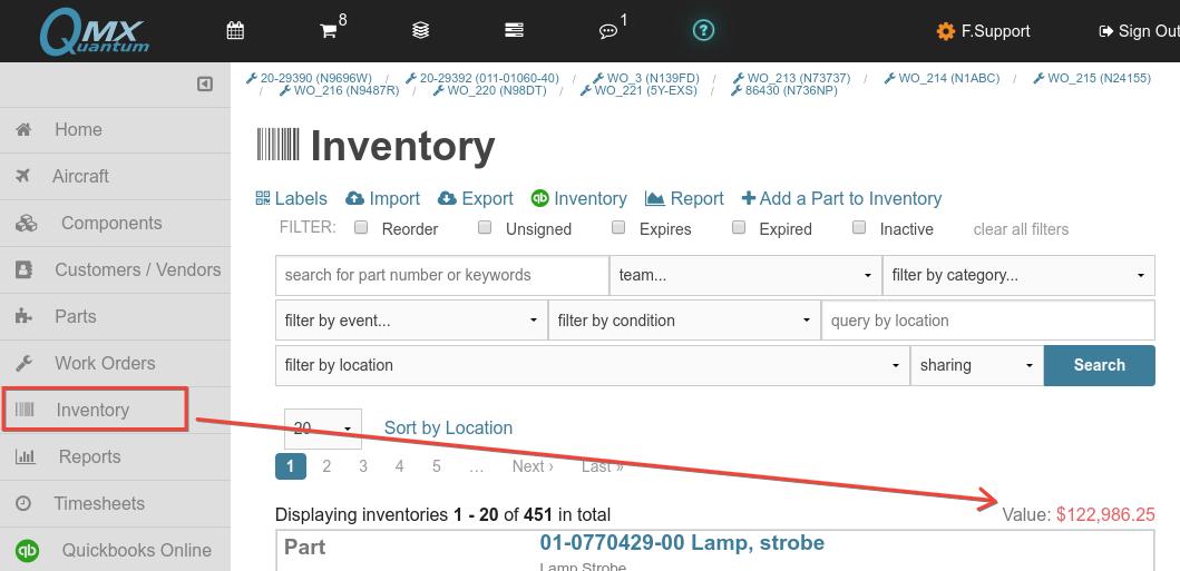 qmx inventory value