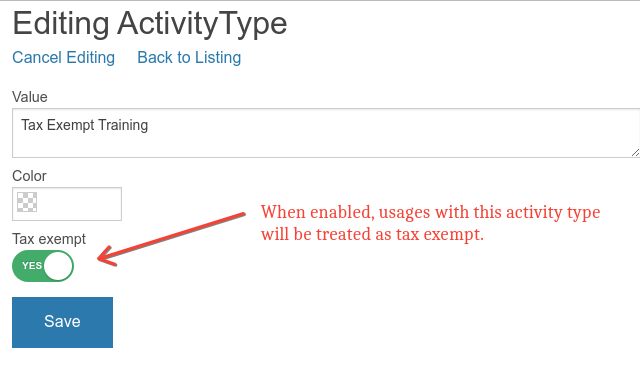 tax exempt activity setting