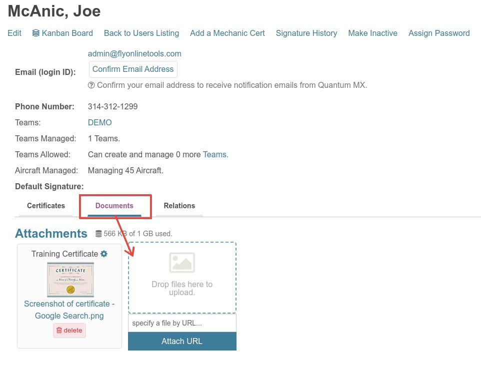 user profile document attachments